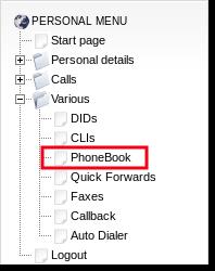 personal phonebook